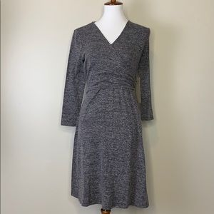 DOE & RAE Grey Knit Longsleeve Wrap Dress S
